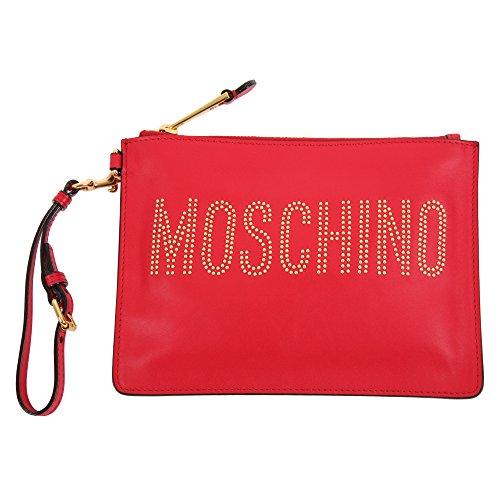 Moschino Damen A84158001115 Rot Leder Clutch