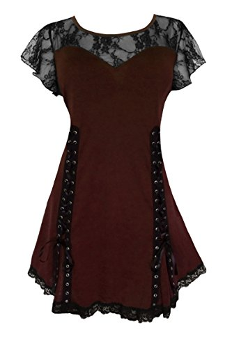 Dare To Wear Victorian Gothic Boho Women's Plus Size Roxanne Corset Top Walnut 5x