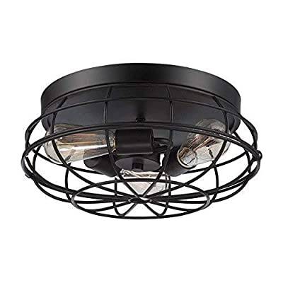 "3 Light Fan Chandelier, Motent Industrial Vintage Ceiling Light, Iron Wrought Cage Lampshade, Retro Minimalist Simplicity Semi Flush Mount Pendant Lighting Fixture, 8.7"" Dia for Loft Café Bar - Black"