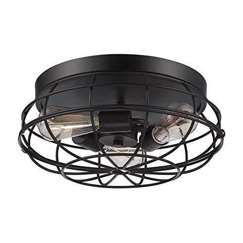 3 Light Fan Chandelier, Motent Industrial Vintage Ceiling Light, Iron Wrought Cage Lampshade, Retro Minimalist Simplicity Semi Flush Mount Pendant Lighting Fixture, 8.7