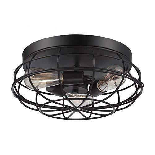 (3 Light Fan Chandelier, Motent Industrial Vintage Ceiling Light, Iron Wrought Cage Lampshade, Retro Minimalist Simplicity Semi Flush Mount Pendant Lighting Fixture, 8.7