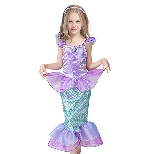 [JiaDuo Kids Girls' Princess Mermaid Dress Party Costume 6] (Toddler And Girls Aurora Princess Costumes)