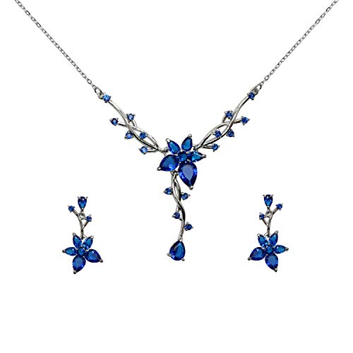 Crystal Earrings Necklace Floral (Faship Gorgeous Blue CZ Crystal Floral Necklace Earrings Set)