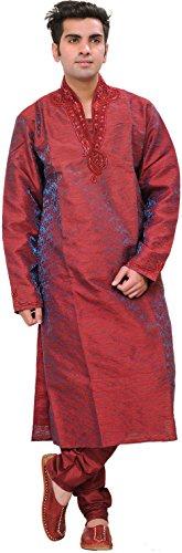 Exotic India Garnet Wedding Kurta Pajama Set With Embro - Red Size 40 by Exotic India