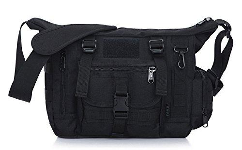 Panegy - Bolso Bandolera Táctico de Nylon Resistente Bolso de Mensajero para Pad Laptop A4 Revistas, Herramientas de Hombre Negro