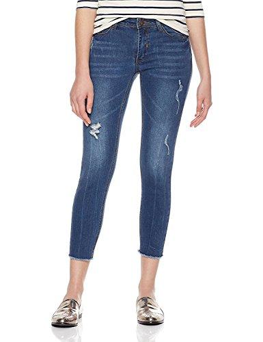 Lily Parker Women's Mid Rise Distressed Denim Pants Skinny Jeans (Dark Blue, 25)
