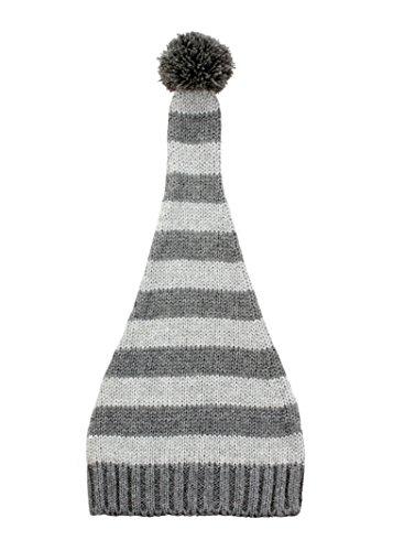 nit Striped Beanie Hat Elf Top Pompom ()