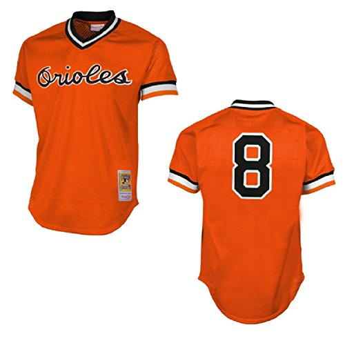 Mitchell & Ness Cal Ripken Orange Baltimore Orioles Authentic Mesh Batting Practice Jersey Medium (40)