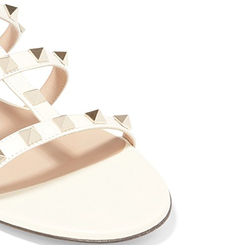 Mules Pour Femme, Slip Sur Rivets Diapositives Rockstud Sandales Backless Robe Pantoufles Blanc