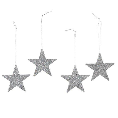 Darice 2469-38 12-Piece Flat Star Glitter Ornament, 2-Inch, Silver