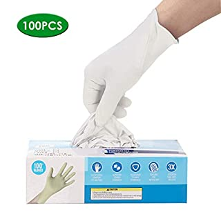 Gloves,White Disposable, Powder Free Industrial Gloves, Latex Free,White Cleaning Glove Ship from USA, Arrive in 7-10 Days(S, M, L) (White, L)