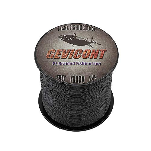 - GEVICONT Braided Line high Power Stealth Superline Weaves PE 4X Strands 109yards 10lbs-100lbs Multiple Colors Available for Salmon Fishing (Black, 109Yds(100m)-8lb(3.6kg)-0.10mm)
