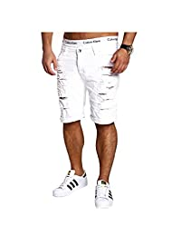 Legou Men's Solid Ripped Distressed Washed Denim Shorts With Hole
