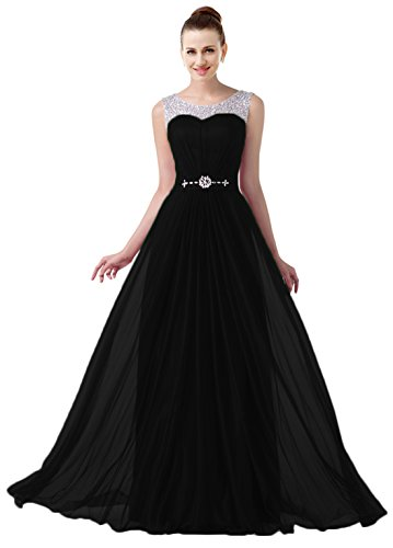 VaniaDress Women Elegnat Rhinestone Bridesmaid Evening Dress Prom Gown V004LF Black US8 from VaniaDress
