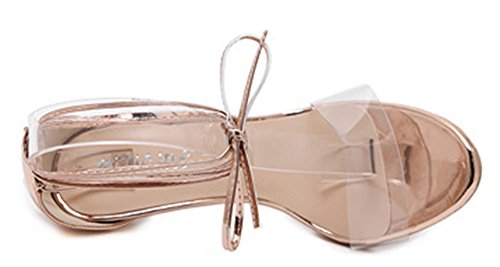 Aisun Damen Sexy Lace Up Schnürung Transparent Peep Toe Stilettos Sandale Champagner