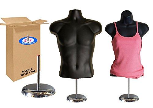 EZ-Mannequins Torso Male + Female (Waist Long) W/Deluxe Metal Stand Base Mannequin Set (Black) by EZ-Mannequins
