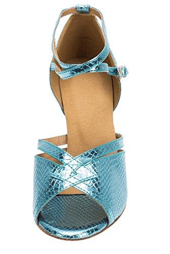 Tda Femmes Mode Cheville Bracelet Peau De Serpent Synthétique Salsa Tango Latin Moderne Danse Chaussures De Mariage 7cm Talon Bleu
