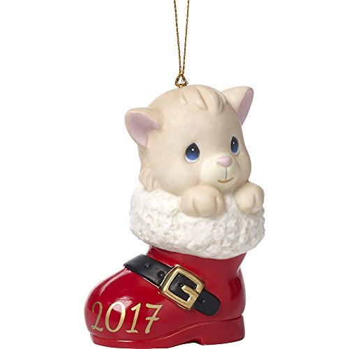 (Precious Moments Have A Pawsitively Soleful Christmas Cat In Boot Dated 2017 Bisque Porcelain Ornament 171007)