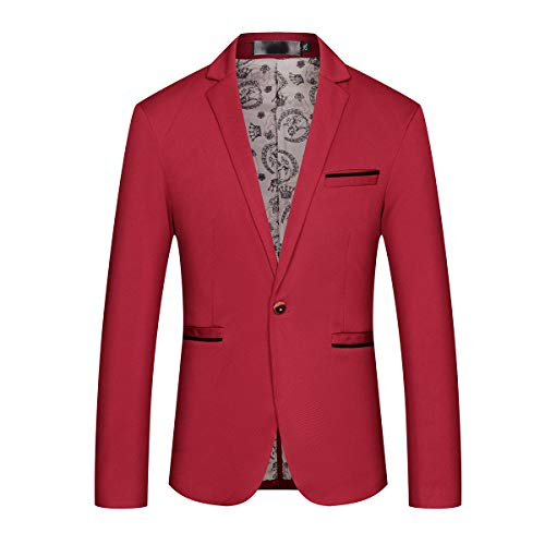 Mens Slim Fit Sport Coat Casual One Button Solid Color Jacket Blazer Red