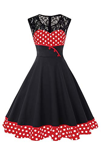 Classy Plus Size Lace 50s Tea Party Bridesmaid Dresses for Women,Red,4XL from ROSE IN THE BOX