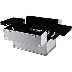 "14""x9""x10""Aluminum Makeup Train Case Jewelry Box Cosmetic Organizer Silver"