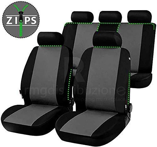 Set Copri sedili con Aperture per poggiatesta Cinture di Sicurezza Posteriori rmg-distribuzione Coprisedili per Auto 5 posti bracciolo Laterale airbag sedili Anteriori
