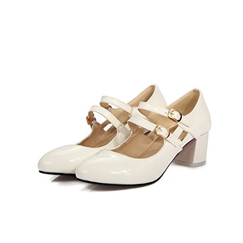 VogueZone009 Toe Women's Round Shoes PU Buckle White Closed Pumps Solid Kitten Heels EqqrIdFw