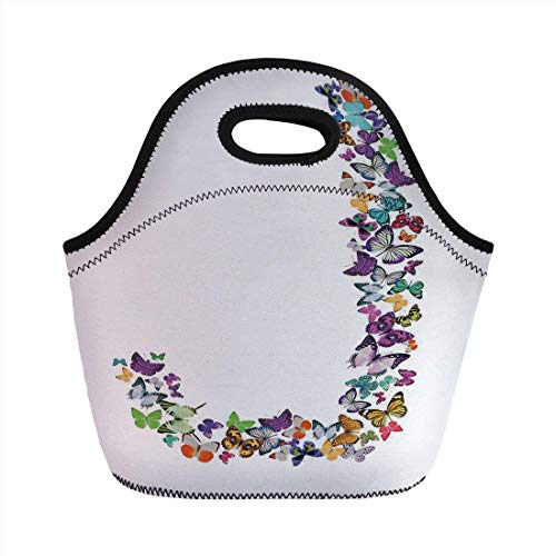 Portable Bento Lunch Bag,Letter J,Alphabet and Nature Tropical Biological Monarch Collection of Wings Typeset ABC Decorative,Multicolor,for Kids Adult Thermal Insulated Tote ()