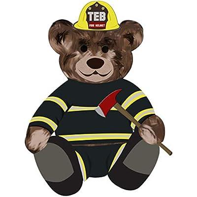 VWAQ Firefighter Teddy Bear Wall Decal - Fireman Bedroom Sticker Kids Decor - TEB4 (24