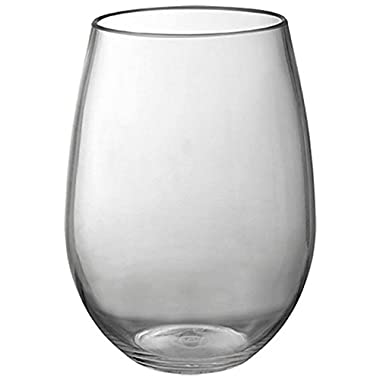 Stemless Wine Glasses. Elegant, 20 oz.- Set of 4. Durable! Reusable! Goblets Shaped! Crystal Clear Like Real Glass! Great for Daily Use without Costly Breakage (Smoke)
