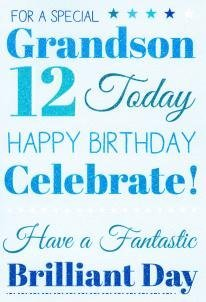 Grandson 12 Birthday Card 7319