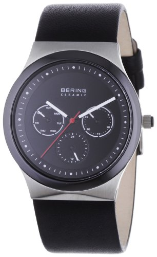 BERING Time 32139-402 Mens Ceramic Collection Watch with Calfskin Band and scratch resistant sapphire crystal. Designed in Denmark.