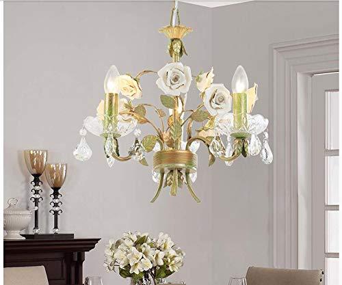 SHIJING Modern Rose European Chandelier lamp Lustre Light 6L/8L Garden Rose Flower Chandelier Light Fixture E14 Decoration,1 ()
