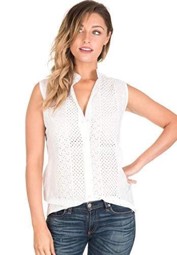 CAMIXA Women's Boho Eyelet Lace Peasant Shirt Blouse Modern Wardrobe Essential M Snow White