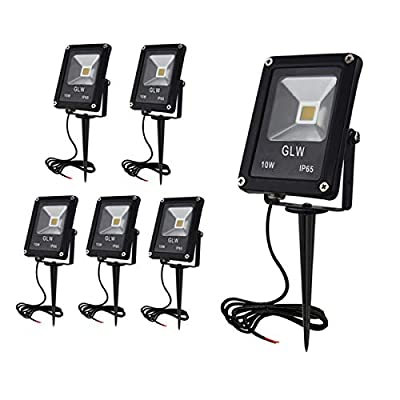 GLW 10W Landscape Lights 12V Waterproof Outdoor Spotlights Low Voltage Warm White 3000K Walls Trees Lighting with Spike Stand [6 Pack]