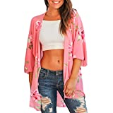 NUWFOR Fashion Womens Printing Short Sleeve Cardigan Long Smock Easy Blouse Tops(Pink,S US Bust:38.6'')