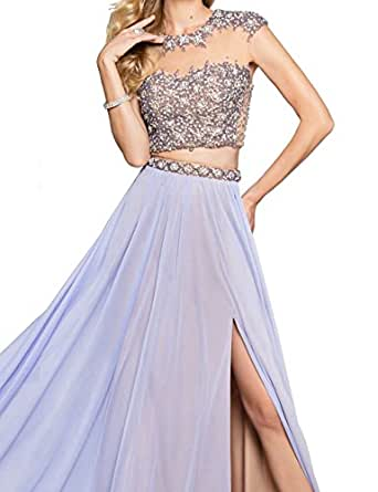 King's Love Rhinestone 2 Piece Prom Dresses 2017 Long Sexy Evening Dress With Side Slit Light Blue US18W
