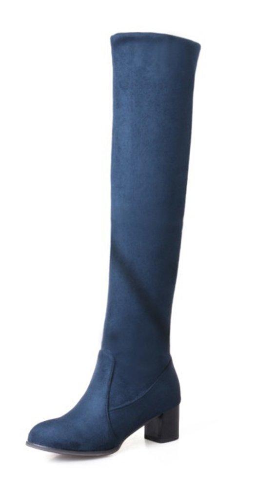Aisun 19985 Femme B072HXHLTN Mode Style Style Tige Haute Slip On Bottes Bleu a463816 - avtodorozhniks.space