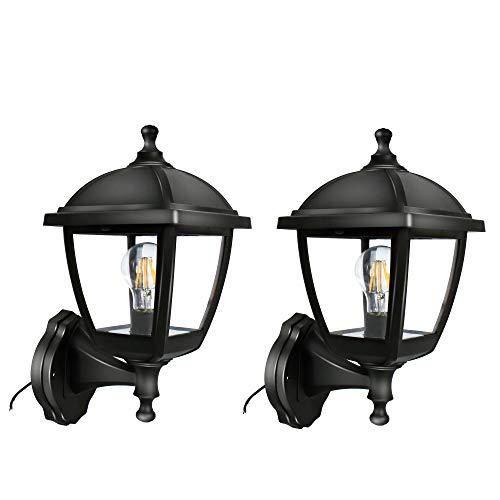 FUDESY Transitional Style LED Outdoor Wall Lantern, Black Polypropylene Plastic Porch Lamp with Clear Acrylic Lenses, Waterproof Porch Light Fixtures (2 Pack),P416