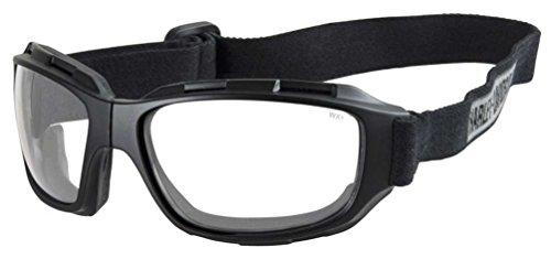 Harley-Davidson Men's Bend Clear Lens Goggles, Collapsible Black Frames ()