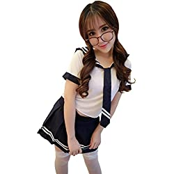 Yinglite Scolara Costume Studente Uniforms studenti abbigliamento College Girl uniforme delle donne tentazione sexy Lingerie abito di pizzo Vestiti di travestimento Cosplay 2019(Large)