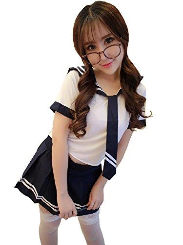 [Yinglite Women Uniform Sexy LingerieTeacher Pet England Schoolgirl Student Stewardess Policewomen sailor nurse Doctor secretary maid Kimono Cheongsam Roles Cosplay Masquerade Lace Costume Set 2019] (Sexy School Uniform)