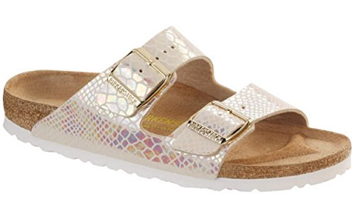 Birkenstock Arizona Stone Mens Sandals Shiny Snake Cream