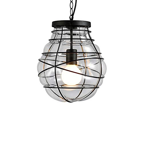 - TheMonday Metal Glass Pendant Light Minimalism Retro Wrought Iron Ceiling Hanging Lamp Industrial Edison E27 1-Light Suspension Lamp Chain Adjustable Chandelier for Dining Room Kitchen Restaurant