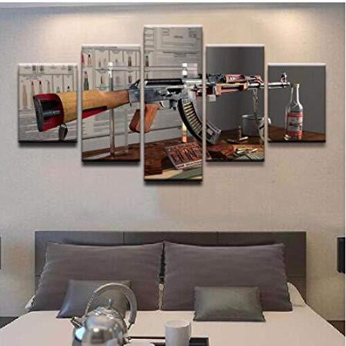 CQ.ZHAO Wall Art 5 Pieces Guns Ak-47 Canvas Printed Poster Home Decor for Living Room Modern Art Canvas Painting Wall Art Pictures (Size 2) Frameless (Best Modern Ak 47)
