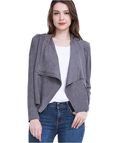 Fasbric Women Spring Autumn Lightweight Jackets Suede Zipper Solid Coat Tops ()