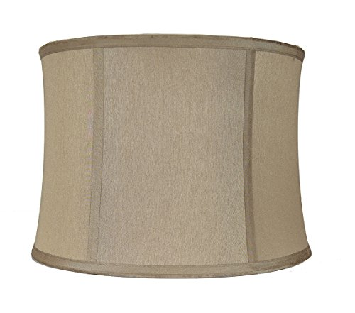 Urbanest Softback Drum Lampshade,Faux Silk, 14-inch, Gold Taupe, Spider