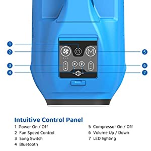 Zero Breeze Z19 Portable Air Conditioner for Camping, Real Mini AC Compressor, USB Charging Station and Bluetooth, Ideal for Outdoor Activities, Tent, RV, Van and Patio (Blue)
