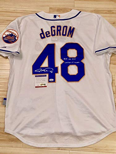 Jacob Degrom Hand Signed New York Mets Jersey CY Young ROY Cert - PSA/DNA Certified - Autographed MLB Jerseys ()