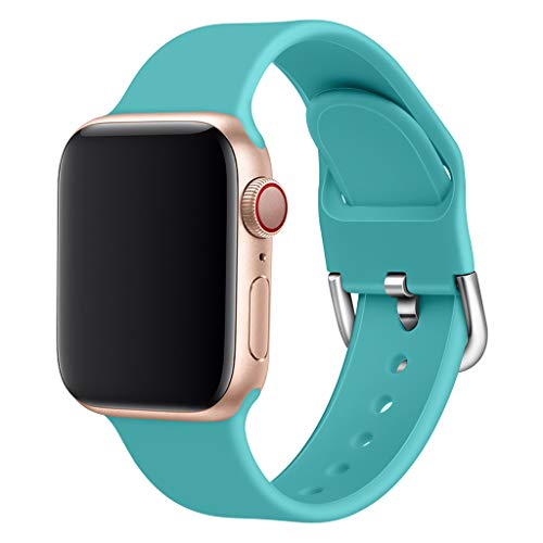 - QUICATCH Compatible with iWatch Series 1/2/3/4 38/40MM Replacement Watch Band Sports Soft Silicone Wristband Strap Small Size (Mint Green)
